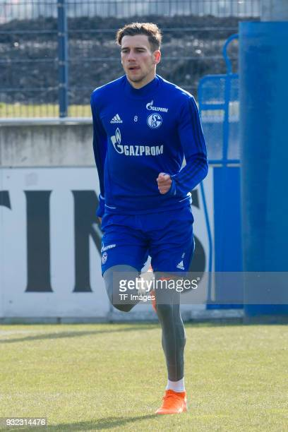 Leon Goretzka of Schalke runs during a training session at the FC Schalke 04 Training center on March 06 2018 in Gelsenkirchen Germany