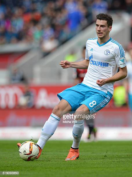Leon Goretzka of Schalke runs with the ball during the Bundesliga match between FC Ingolstadt and FC Schalke 04 at Audi Sportpark on April 2 2016 in...