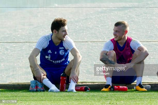 Leon Goretzka of Schalke speaks with Max Meyer of Schalke during the FC Schalke 04 training camp at Hotel Melia Villaitana on January 04 2018 in...