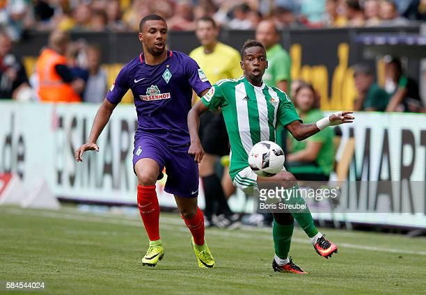 Leon Guwara of Werder Bremen challenges Charly Musonda of Real Betis during the Bundeswehr Karriere Cup Dresden 2016 match between Werder Bremen and...