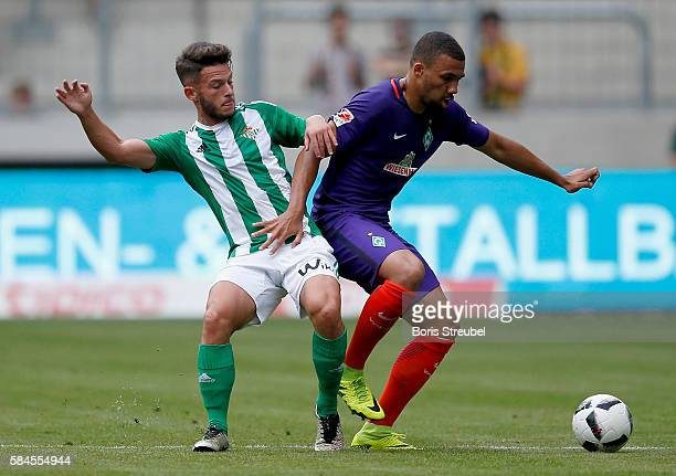 Leon Guwara of Werder Bremen is challenged by Dani Ceballos of Real Betis during the Bundeswehr Karriere Cup Dresden 2016 match between Werder Bremen...