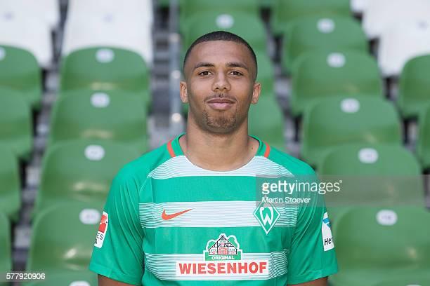 Leon Guwara poses during the offical team presentation of Werder Bremen on July 20 2016 in Bremen Germany