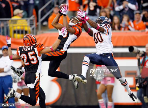 Leon Hall of the Cincinnati Bengals intercepts the ball in front of Earl Bennett of the Chicago Bears during the NFL game at Paul Brown Stadium on...