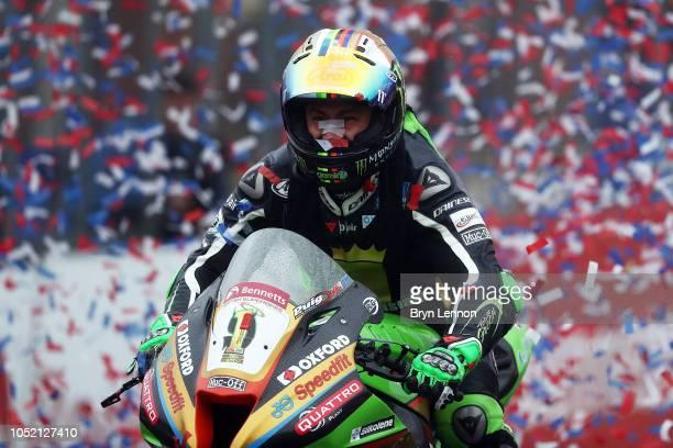Leon Haslam of Great Britain and Kawasaki - JG Speedfit Kawasaki celebarets winning the British Superbike Championship at Brands Hatch on October 14,...