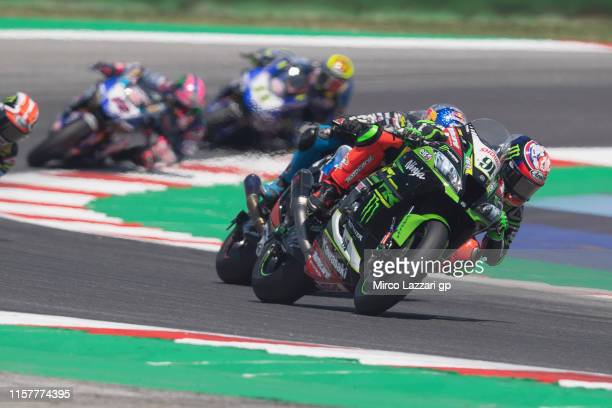 Leon Haslam of Great Britain and Kawasaki Racing Team WorldSBK leads the field during the Superbike Race 2 during the FIM Superbike World...