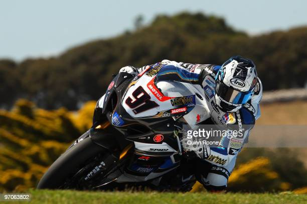 Leon Haslam of Great Britain and Team Suzuki Alstare rounds the bend during practice ahead of round one for the Superbike World Championship at...