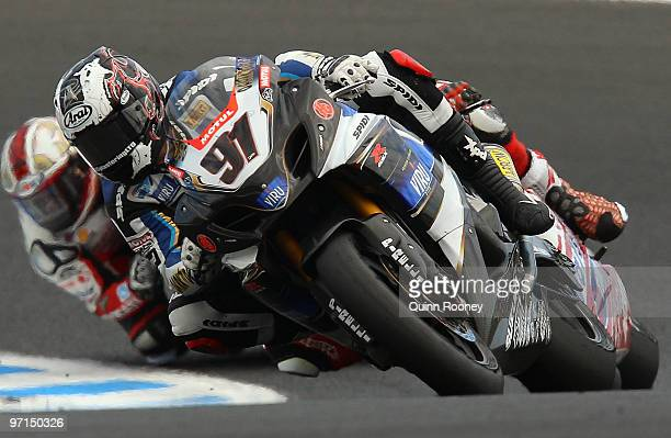 Leon Haslam of Great Britain and Team Suzuki Alstare rounds the bend during the Superbike World Championship round one race two at Phillip Island...