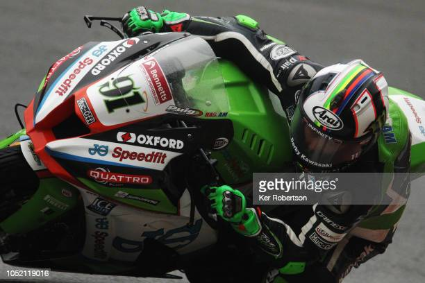 Leon Haslam of Great Britain and the JG Speedfit Kawasaki Team rides during the British Superbike Championship at Brands Hatch on October 14 2018 in...