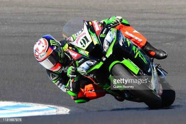 Leon Haslam of Great Britain and the Kawasaki Racing Team WorldSBK rides in Race 2 the Tissot Superpole Race of the World Superbikes Championships at...