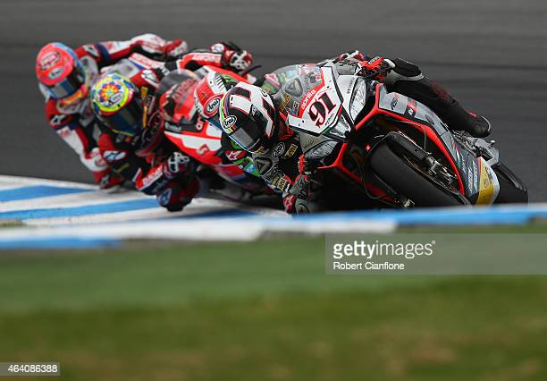 Leon Haslam of Great Britain rides the Aprilia Racing Team Red Devils Aprilia RSV4 RF during race two of the World Superbikes World Championship...