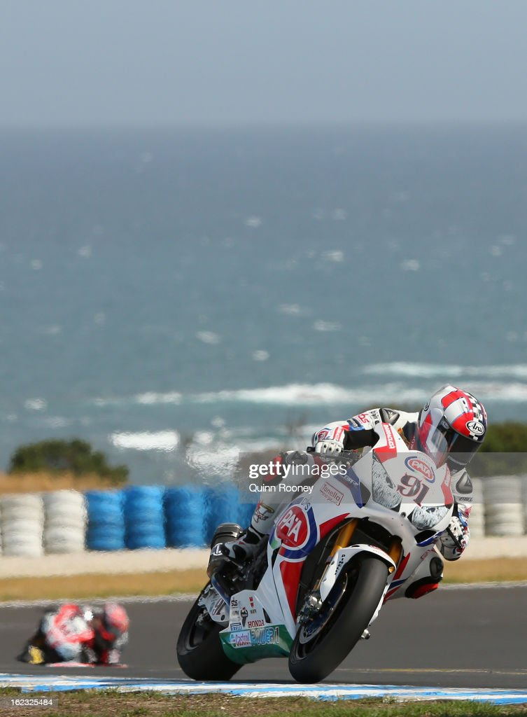 Leon Haslam of Great Britain riding the #91 Pata Honda World Superbike Team during Qualifying practice ahead of the World Superbikes at Phillip Island Grand Prix Circuit on February 22, 2013 in Phillip Island, Australia.