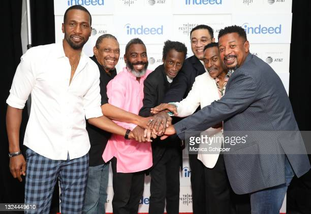 """Leon, Hawthorne James, Michael Wright, Tico Wells, Harry Lennix, Harold Nicholas, and Robert Townsend attend """"The Five Heartbeats"""" premiere during..."""
