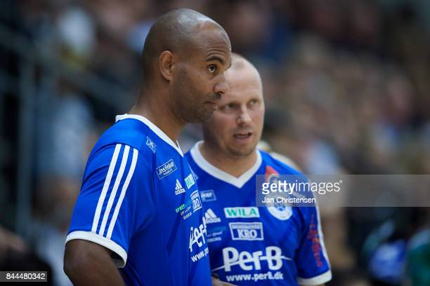 Leon Henriksen assistant coach of Silkeborg Voel looks on from the bench during the Danish HTH Go Ligaen match between Copenhagen Handball and...