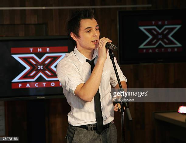 Leon Jackson performs during the X Factor Finals Photocall and performance at the Carphone Warehouse on Oxford Street on December 5 2007 in London...