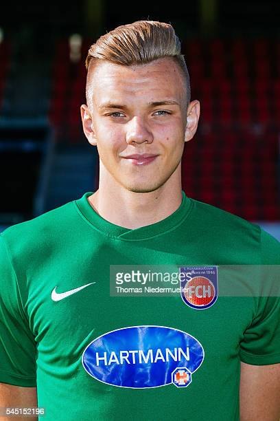 Leon Jankowsk poses during the 1FC Heidenheim team presentation at VoithArena on July 5 2016 in Heidenheim Germany