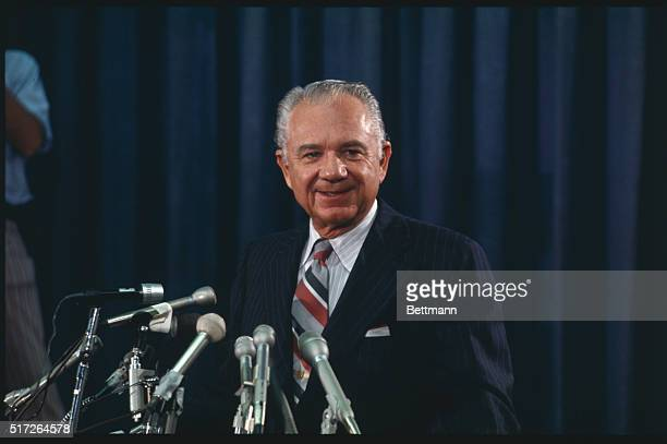 Leon Jaworski former president of American Bar Association meets press here 11/1 after he was named special Watergate prosecutor to succeed Archibald...