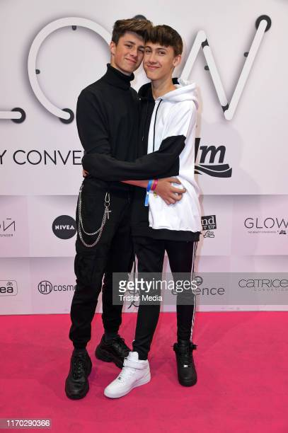 Leon Koch and his boyfriend Lukas White during the Beauty Convention Glow by DM at The Station on September 22 2019 in Berlin Germany