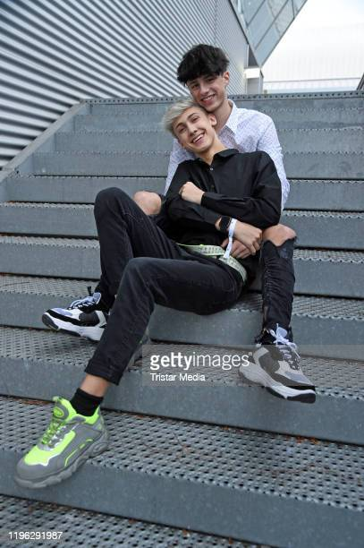 Leon Koch and his boyfriend Lukas White during the Beauty Convention GLOW by dm on January 25 2020 in Vienna Austria