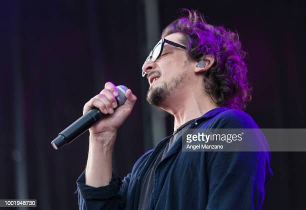 Leon Larregui from Zoe performs in concert at Las Noches del Botanico festival on July 19 2018 in Madrid Spain