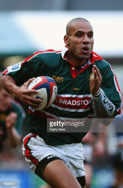 Leon Lloyd of the Leicester Tigers running with the ball during the Zurich Premiership match between Leicester Tigers and Bristol Shoguns held on...