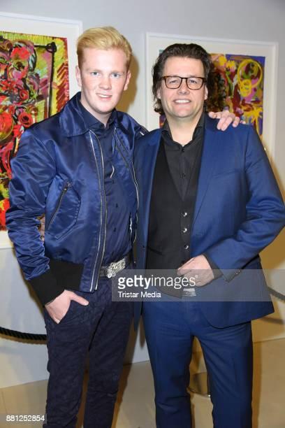Leon Loewentraut and galerist Dirk Geuer attend the 25 years anniversary ntv event at Bertelsmann Repraesentanz on November 28 2017 in Berlin Germany