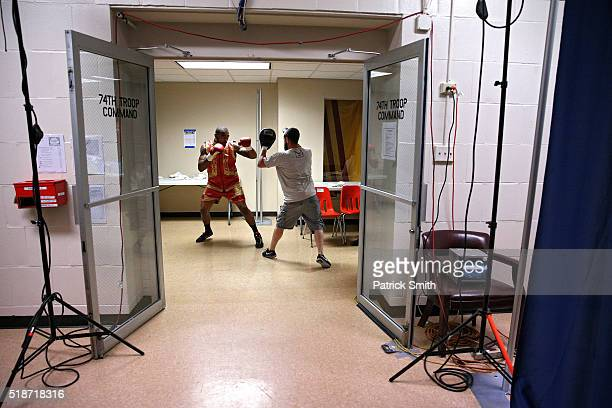 Leon Love warms up back stage before fighting Michael Gbenga in their super middleweights bout at the DC Armory on April 1, 2016 in Washington, DC.