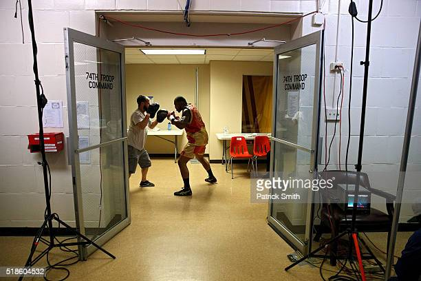 Leon Love warms up before fighting Michael Gbenga in their super middleweights bout at the DC Armory on April 1, 2016 in Washington, DC.