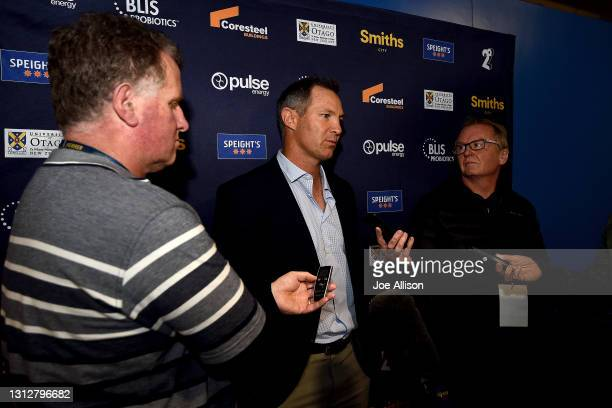 Leon MacDonald head coach of the Blues answers questions from the media following the round eight Super Rugby Aotearoa match between the Highlanders...