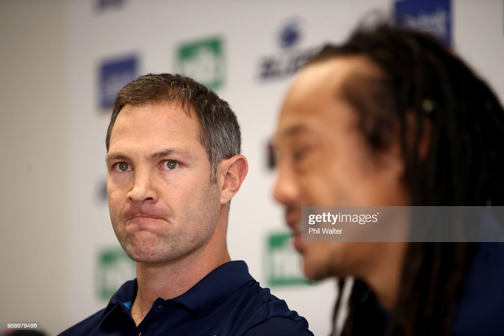 Leon MacDonald (L) looks on as Tana Umaga speaks during a Blues Super Rugby press conference at Blues Headquarters on May 16, 2018 in Auckland, New Zealand. MacDonald was today named as assistant coach of the Blues for the 2019 season.