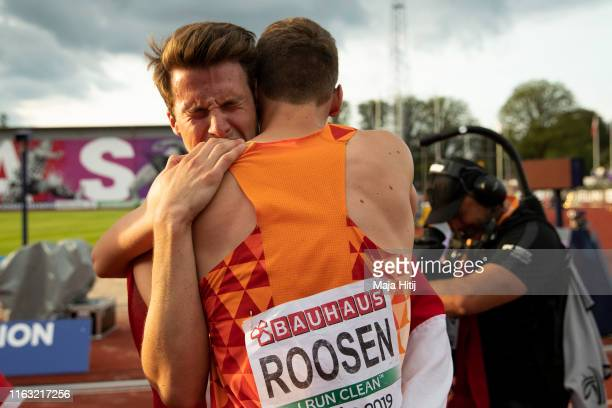 Leon Mak and Sven Roosen of the Netherlands react after 1500m Men Decathlon on July 20 2019 in Boras Sweden