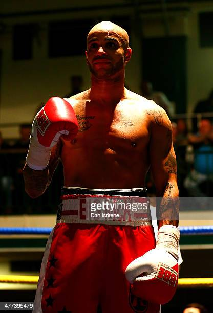 Leon Mckenzie poses after victory in the super middleweight bout against Nikola Varbanov at York Hall on March 8 2014 in London England