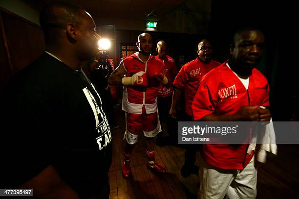 Leon Mckenzie prepares backstage with his father Clinton McKenzie and uncle Duke McKenzie before his super middleweight bout against Nikola Varbanov...