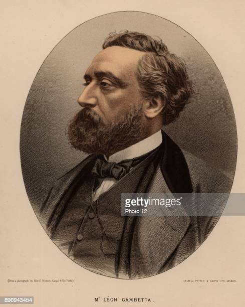 Leon Michel Gambetta French statesman born at Cahors From 'The Modern Portrait Gallery' Tinted lithograph