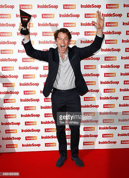 Leon Ockenden with the Best Drama award for Waterloo Road as he attends the Inside Soap Awards at Dstrkt on October 1 2014 in London England