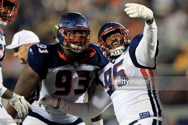 Leon Orr and Ryan Davis Sr #95 of Orlando Apollos celebrate the play against the Atlanta Legends during the second quarter on February 09 2019 in...