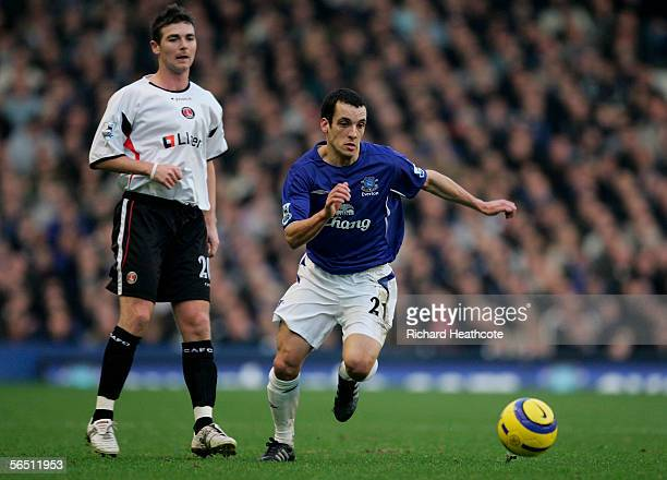 Leon Osman of Everton bursts past Bryan Hughes of Charlton during the Barclays Premiership match between Everton and Charlton Athletic at Goodison...