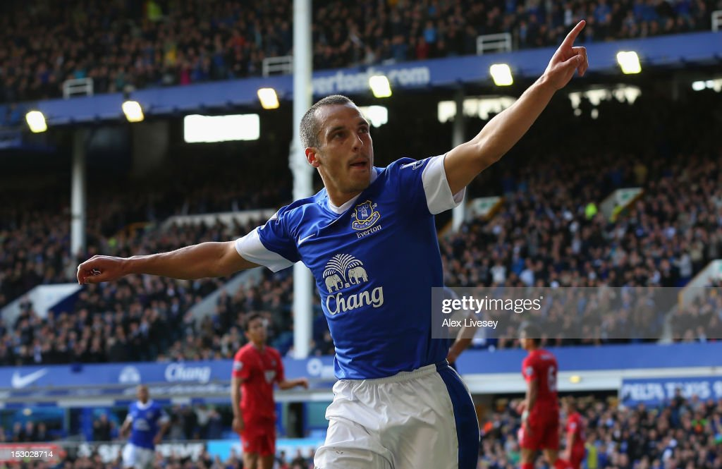 Leon Osman of Everton celebrates after scoring his goal during the Barclays Premier League match between Everton and Southampton at Goodison Park on September 29, 2012 in Liverpool, England.
