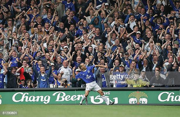 Leon Osman of Everton celebrates after scoring the first goal during the Barclays Premiership match between Everton and West Bromwich Albion at...