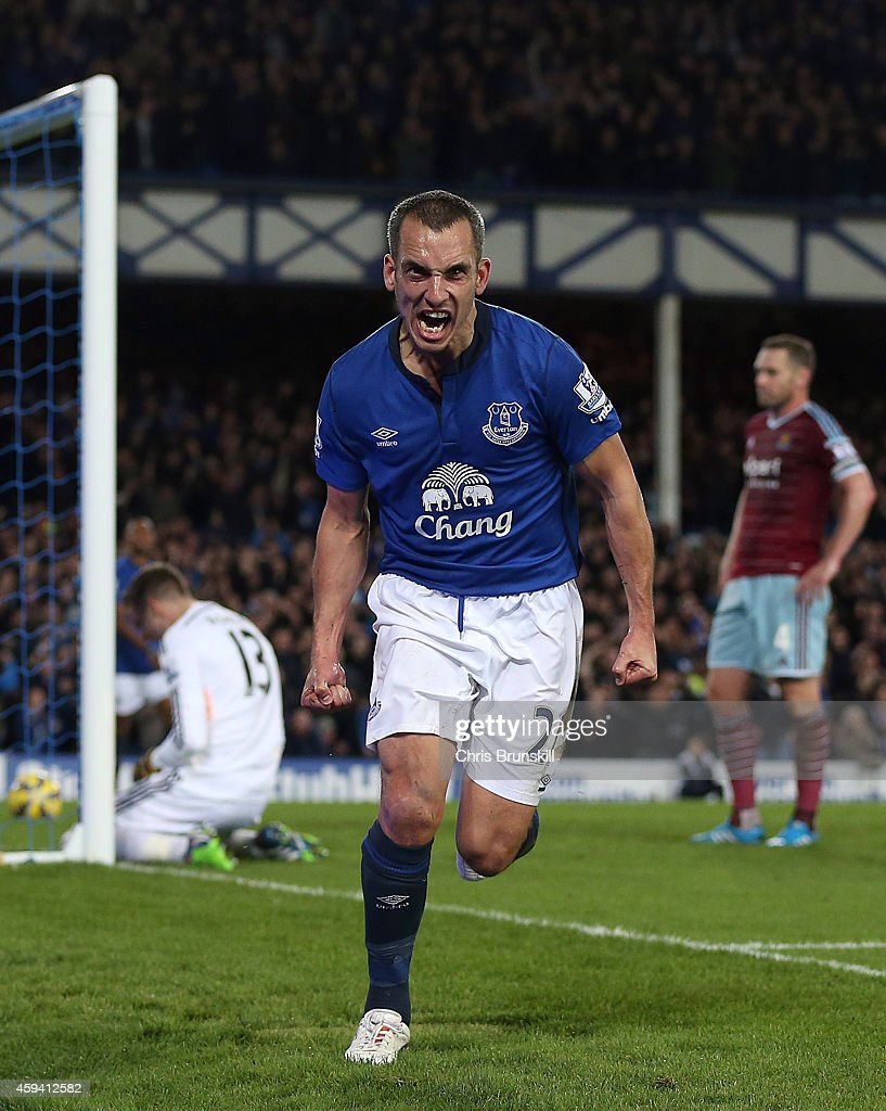 Leon Osman of Everton celebrates scoring his side's second goal during the Barclays Premier League match between Everton and West Ham United at Goodison Park on November 22, 2014 in Liverpool, England.
