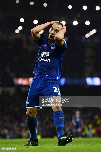 Leon Osman of Everton reacts during the Barclays Premier League match between Manchester City and Everton at the Etihad Stadium on January 13 2016 in...