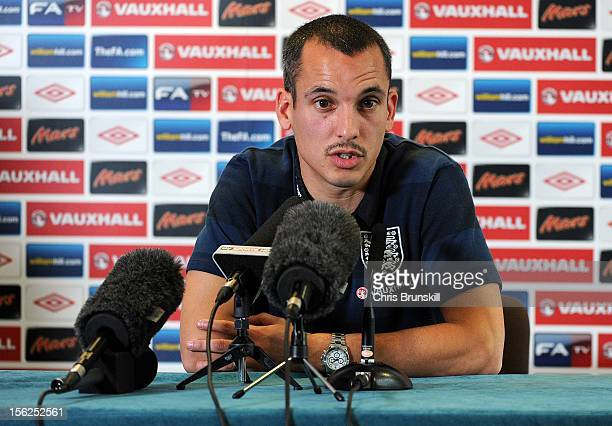 Leon Osman speaks to the media during the England press conference ahead of the international friendly match against Sweden at the Lowry Hotel on...
