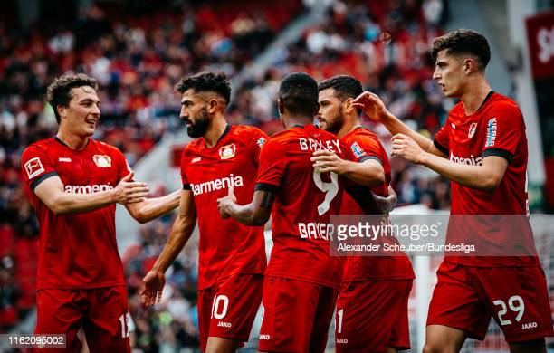 Leon Patrick Bailey of Bayer 04 Leverkusen celebrates the first goal for his team during the Bundesliga match between Bayer 04 Leverkusen and SC...
