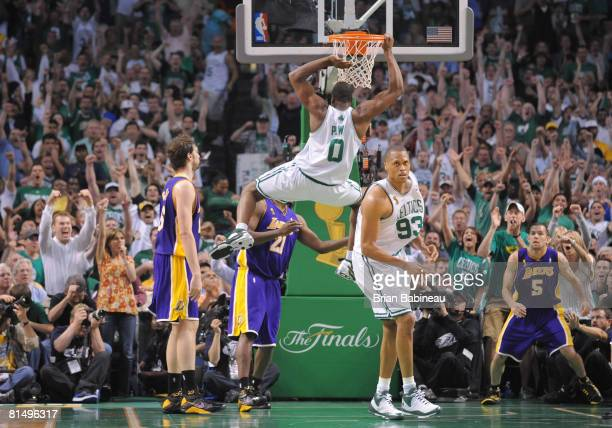 Leon Powe of the Boston Celtics dunks the ball against the Los Angeles Lakers during Game Two of the NBA Finals at the TD Banknorth Garden on June 8...