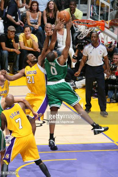 Leon Powe of the Boston Celtics has his shot contested by Ronny Turiaf of the Los Angeles Lakers in Game Four of the 2008 NBA Finals at Staples...