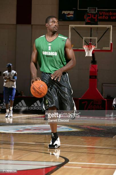 Leon Powe of the Boston Celtics runs the break against the Dallas Mavericks during the 2006 Toshiba Vegas Summer League on July 8 2006 at the Cox...