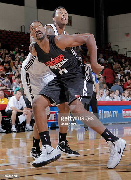 Leon Powe of the Chicago Bulls boxes outl against the Milwaukee Bucks during NBA Summer League on July 22 2012 at Cox Pavilion in Las Vegas Nevada...