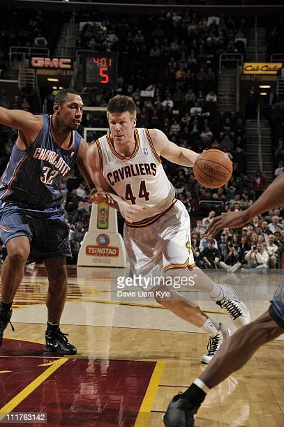 Leon Powe of the Cleveland Cavaliers moves the ball against the Charlotte Bobcats at The Quicken Loans Arena on April 5 2011 in Cleveland Ohio NOTE...