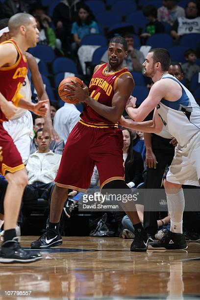 Leon Powe of the Cleveland Cavaliers protects the ball during the game against the Minnesota Timberwolves during the game on December 4 2010 at...