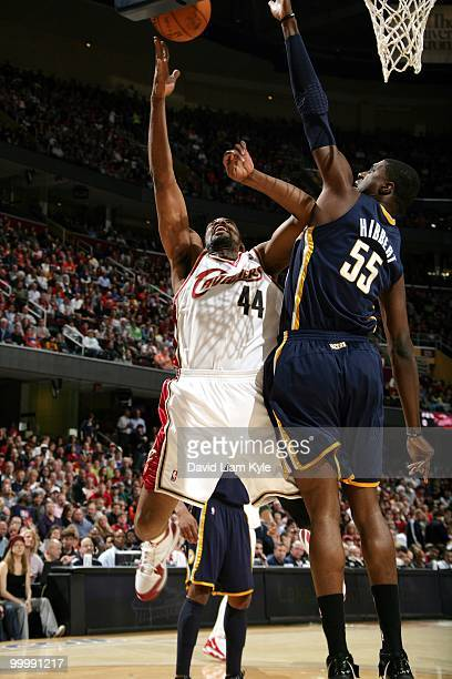Leon Powe of the Cleveland Cavaliers puts a shot up against Roy Hibbert of the Indiana Pacers during the game at Quicken Loans Arena on April 9 2010...