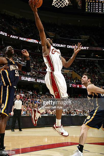 Leon Powe of the Cleveland Cavaliers puts a shot up against the Indiana Pacers during the game at Quicken Loans Arena on April 9 2010 in Cleveland...